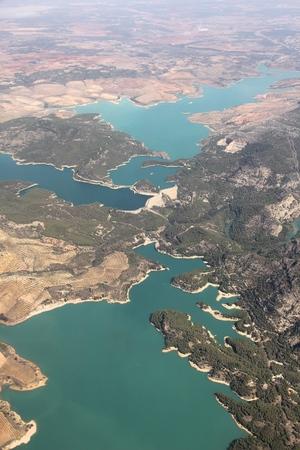 Water reservoirs in Andalusia, Spain - Embalses Guadalhorce-Guadalteba. Man made lakes.