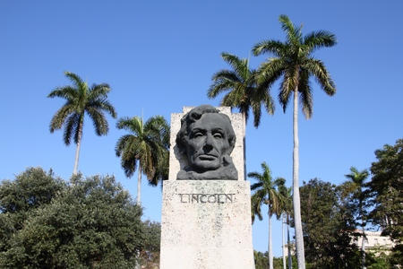 abraham: HAVANA, CUBA - FEBRUARY 27, 2011: Bust of Abraham Lincoln in Havana, Cuba. The statue is located in the Pan-American Fraternity Park.