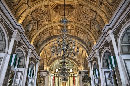 MANILA, PHILIPPINES - NOVEMBER 25, 2017: Interior view of San Agustin Church in Manila, Philippines. The church is part of UNESCO World Heritage Site: Baroque Churches of the Philippines.