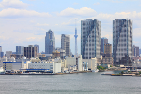 Tokyo skyline, Japan - cityscape of Chuo district. Modern city view.