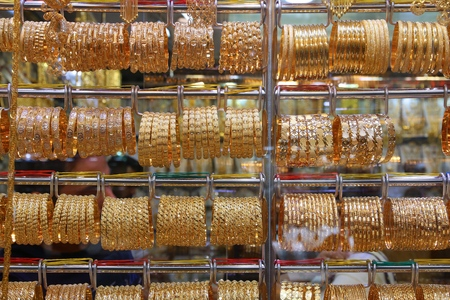 Gold jewellery - solid gold bracelets in Dubai Gold Souk.