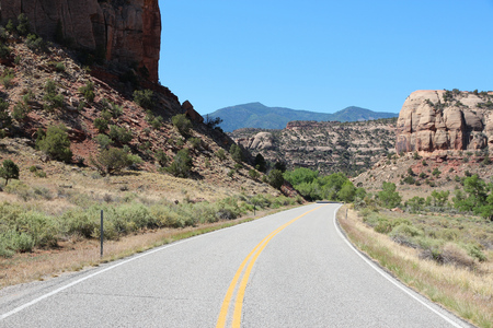 United States nature in Utah. Road to Canyonlands National Park.