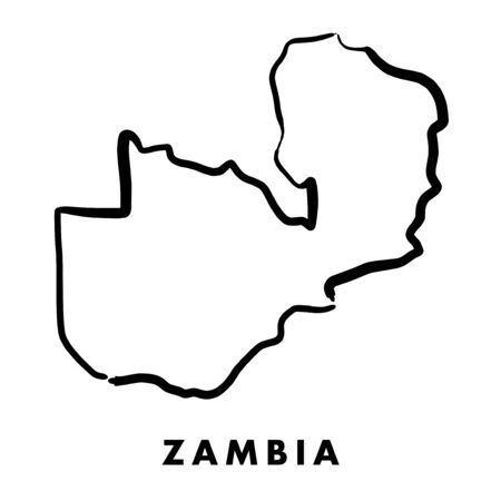 Zambia simple map outline - smooth simplified country shape map vector. Illustration