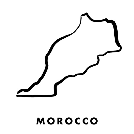 Morocco simple map outline - smooth simplified country shape map vector. Illusztráció