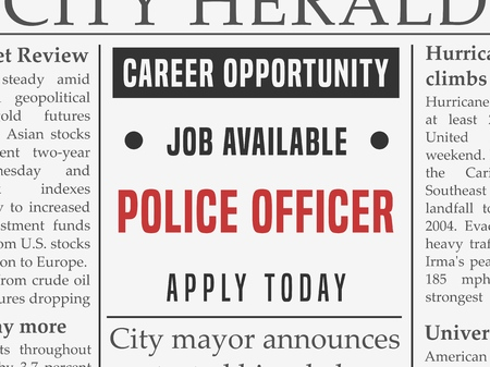 Police force career - job hiring classified ad vector in fake newspaper.