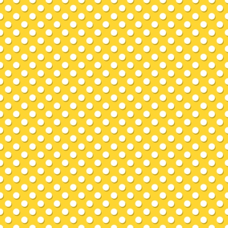 White polka dots on yellow background - modern seamless vector ornament design.