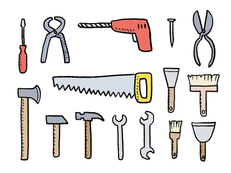 Tools for DIY works - vector hardware tools set. Иллюстрация