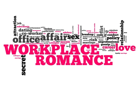 Workplace romance - company employee dating and love. Corporate regulations word cloud.