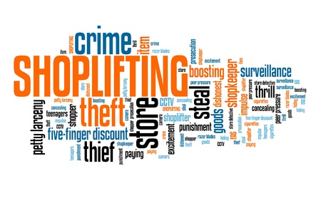 Shoplifting - store theft retail industry crime problem. Word cloud sign. Stock Photo