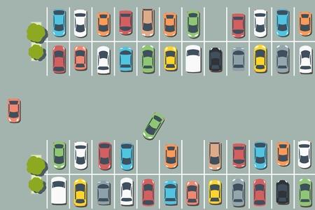 Parkeerterreinillustratie - de vectorgrafieken van de parkeerterreininfrastructuur. Vector Illustratie