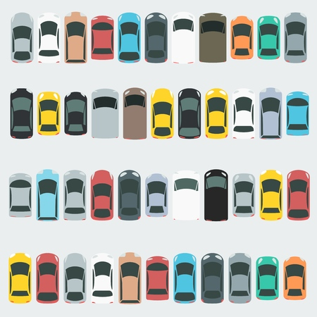 Car icon set - parking lot filled with cars. Transportation vector.