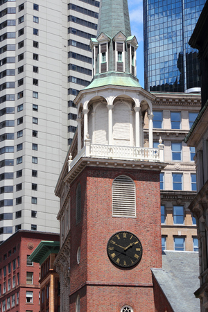 Downtown Crossing area of Boston. Old South Meeting House - historic Congregational church.