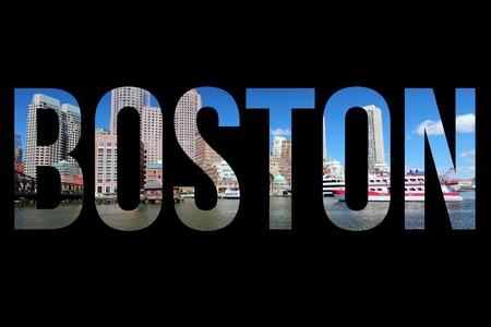 Boston, USA - postcard style sign. City name word.