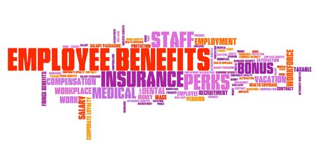 Employee benefits - work place perks. Corporate loyalty word cloud. Stock Photo