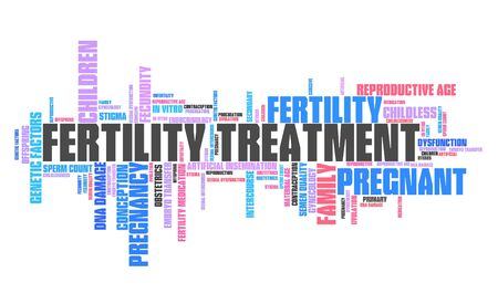 Fertility treatment - infertility issues. Word cloud sign.
