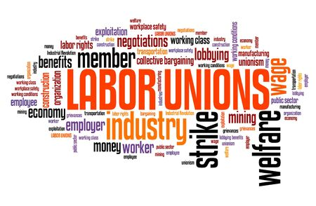 Labor unions - industry welfare organizations. Employment word cloud.