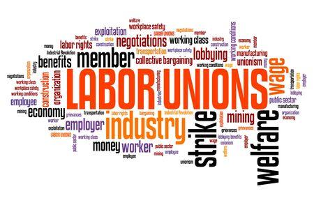 Sindicatos trabalhistas - organizações de bem-estar da indústria. Nuvem de palavra de emprego. Foto de archivo