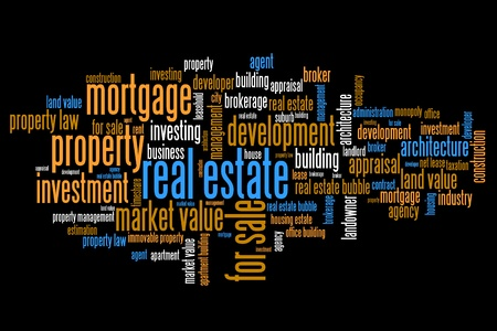 Real estate investment and trading word cloud illustration. Word collage concept. Stock Illustration - 93861133