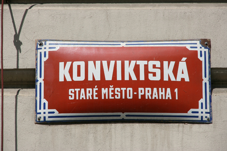 Old street sign in Prague, Czech Republic. Konviktska Street.
