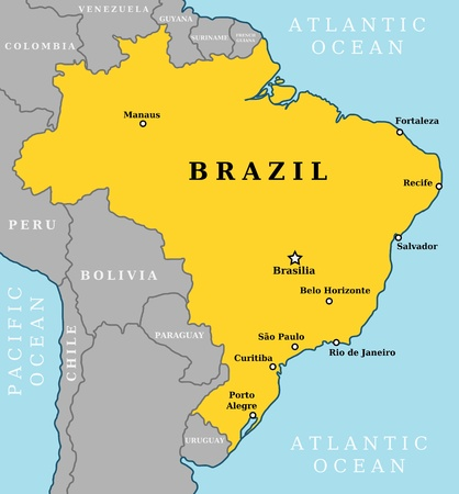 Map of Brazil, country outline with 10 largest cities including Brasilia, capital city.
