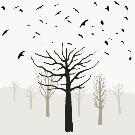Halloween theme, spooky tree shapes, birds taking off, scary desolate forest.