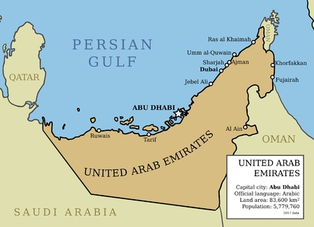 United Arab Emirates (UAE) map outline illustration country map with main cities and data table. Illustration