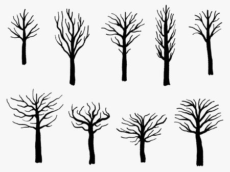 Tree shape set, barren tree silhouette vector illustration collection.