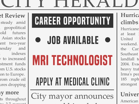 MRI technologist medical career, job hiring classified ad vector in fake newspaper. Illustration
