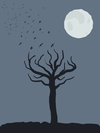 Halloween theme spooky tree shape, birds taking off and full moon scary place.