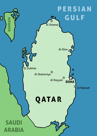 Qatar map outline illustration country map with main cities.