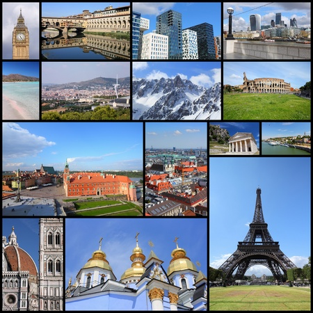 Europe landmarks - tourism attractions collage including London, Oslo, Paris, Rome, Florence, Vienna, Belgrade, Kiev, Warsaw and Alps.