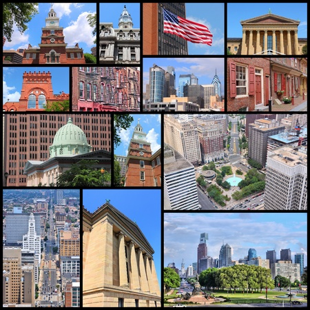 Philadelphia photo collage with skylines, Independence Hall, Museum, City Hall and Penn State University. Editorial