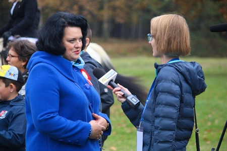 SWIERKLANIEC, POLAND - OCTOBER 21, 2017: Barbara Dziuk is interviewed at an event in Swierklaniec, Poland. Barbara Dziuk is a member of Polish Parliament (Sejm) from PiS (Prawo i Sprawiedliwosc) party.