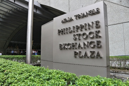 MANILA, PHILIPPINES - DECEMBER 7, 2017: Philippine Stock Exchange Plaza in Makati City, Metro Manila, Philippines. PSE trades more than 340 companies.