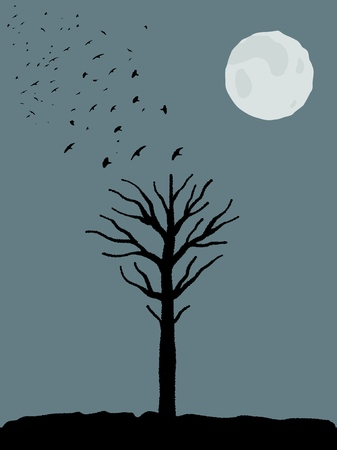 Halloween theme - spooky tree shape, birds taking off and full moon. Scary place. Ilustração