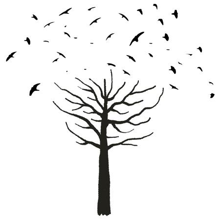 Halloween theme - spooky tree shape with birds taking off. Ilustração