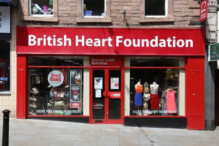 ROTHERHAM, UK - JULY 10, 2016: British Heart Foundation store in Rotherham, UK. The charity has some 700 shops in the UK.