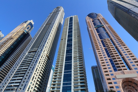 Dubai Marina skyline - modern architecture in United Arab Emirates. 報道画像