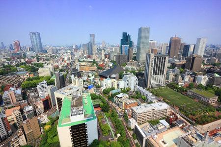 Tokyo city skyline, Japan - aerial view of Minato Ward.