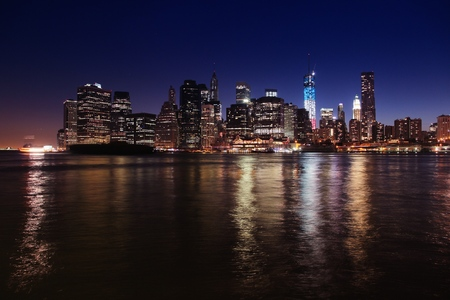 New York skyline, USA - Manhattan night view. Stock Photo