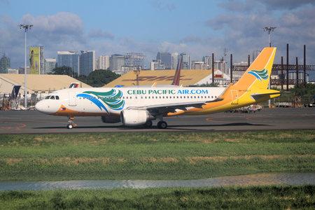 MANILA, PHILIPPINES - NOVEMBER 28, 2017: Cebu Pacific Air Airbus A320 at Ninoy Aquino International Airport (NAIA), Manila. The airport handles 36.7 million passengers annually (2015). Editorial