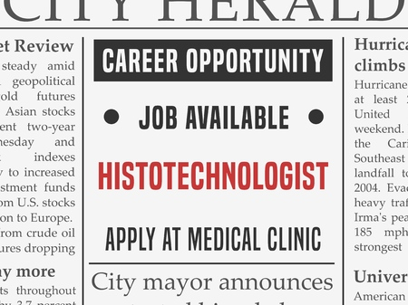 Histotechnologist medical career - job hiring classified ad vector in fake newspaper. Illustration