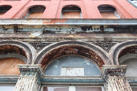 Cast iron architecture in Philadelphia, Pennsylvania in the United States. Old cast iron facade in a building.