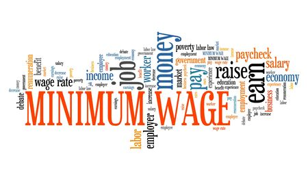Minimum wage - salary regulations by government. Career concept word cloud. Banco de Imagens