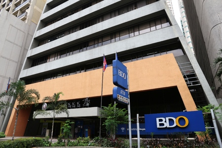 MANILA, PHILIPPINES - DECEMBER 7, 2017: BDO Bank branch in Manila, Philippines. Banco de Oro (BDO Unibank) is the largest Philippine bank by assets.