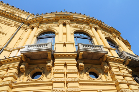 National Theatre of Szeged - baroque revival architecture in Hungary. Cultural landmark.