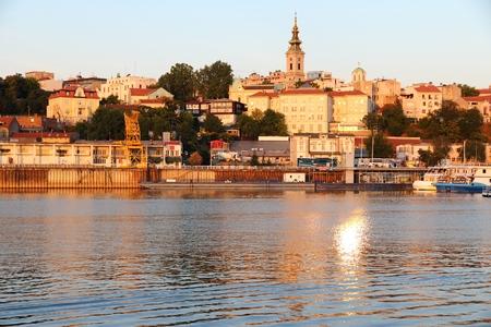 Belgrade sunset lit skyline. Capital city of Serbia.