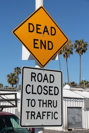 Dead end - road closed. Traffic warning sign.