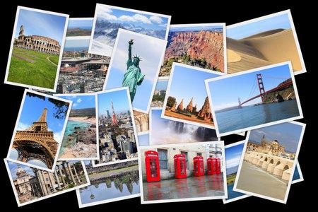 Collage dei punti di riferimento del mondo - pila di foto di Stati Uniti, Francia, Inghilterra, Spagna, Brasile, Nuova Zelanda, Giappone, Tailandia e Cambogia.