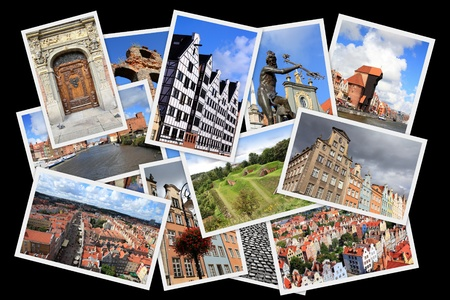 Gdansk, Poland - postcard collage. Landmark photo collection.